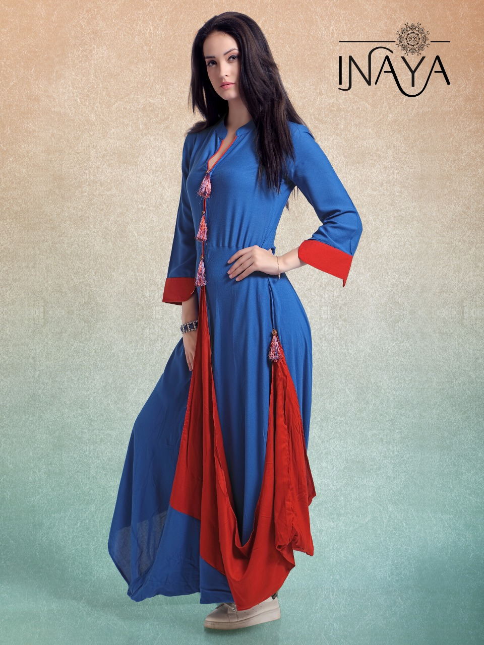 Ready Made Clothing : Libas studio inaya stylish cowl k full style gown ready